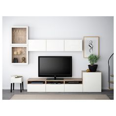 BESTÅ TV storage combination/glass doors - white stained oak effect/Selsviken high-gloss/white clear glass, drawer runner, soft-closing - IKEA Room Ideias, Ikea Living Room, Storage In Living Room, Dining Room, Ikea Dining, Muebles Living, Tv Storage, Record Storage, Home And Living