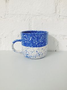 Halvies Speckled Mug - Blue by BTW Ceramics | Fiercely Made - Handcrafted in Brooklyn, NY