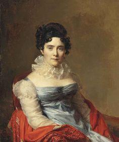 Firmin Massot (Geneva 1766-1849)  Portrait of a lady, half-length, in a blue dress and ruff