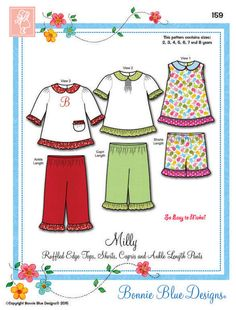 Milly is a ruffled edge top, shorts, capris and ankle length pants pattern. The ruffle edge top can be made with optional smocking in the front, buttons in the back, and has a Peter Pan collar. The sh