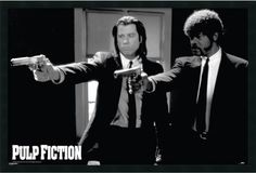 "0-028824>25x37"" Pulp Fiction Duo Guns Framed Art Gel Coated"