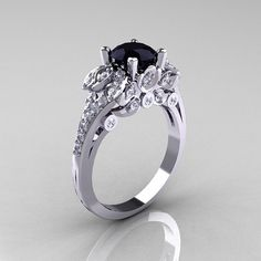 Classic 10K White Gold 10 CT Black Diamond Solitaire by artmasters, $1299.00