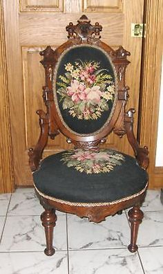 "Antique Carved John Jeliff Walnut ""Hers"" Chair With Upholstered Back And Seat In Needlepoint 