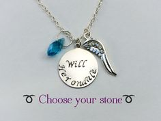 Herondale Necklace - Choose your favorite Herondale and colored stone - Will and Jace - The Mortal Instruments - The Infernal Devices