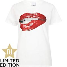 White sexy lips print To the Black t-shirt - print t-shirts / vests - t shirts / vests / sweats - women