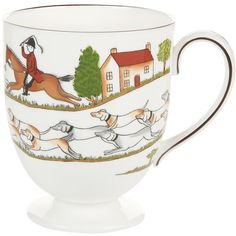 Wedgwood Hunting Scene Leigh Mug (550 SEK) ❤ liked on Polyvore featuring home, kitchen & dining, drinkware, white bone china, tea cup, tea mug, bone china tea mugs and wedgwood
