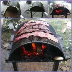 Flat meat wood grill
