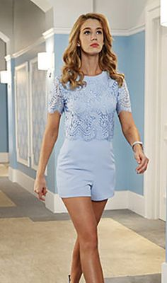 Petra's blue lace playsuit on Jane the Virgin. Outfit Details: http://wornontv.net/52971/ #JanetheVirgin
