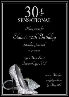 Silver Glitter Shoes Adult Birthday Party Invitations