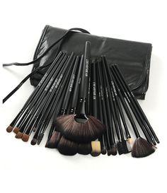 24 Piece Jet Black Make Up Brush Set with Free Case Default Title, Make Up Brush - MyBrushSet, My Make-Up Brush Set  - 1