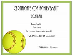 softball certificate template