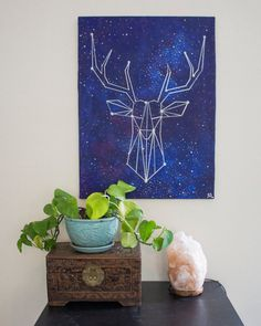 Silver Geometric Deer Head Galaxy Constellation Acrylic Mixed Media Painting on Canvas