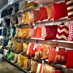 The pillow wall in the Surya showroom is organized by color family. Surya pillows now available at Designer's Touch. Scatter Cushions, Cushions On Sofa, Living Room Modern, Living Room Decor, African Home Decor, Interior Decorating, Interior Design, Diy Pillows, Soft Furnishings