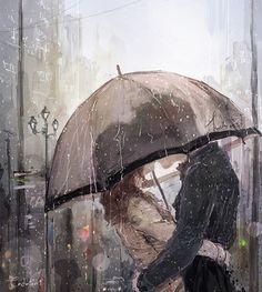 Pärchen im Regen unter Regenschirm