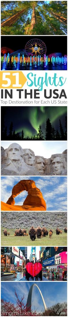 This list of top family destinations includes the best of historical sites, national parks, things to do, and the best attractions to visit. Start planning your vacations, because there are a lot of amazing things to see. This is your must-do family vacation bucket-list for seeing all 50 of the US states plus Washington D.C.!  via @amomstake