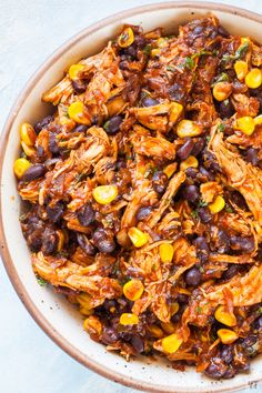 Instant Pot Shredded Chicken made with Store bought Salsa,Black Beans and Corn. - Delicious Saucy Taco Chicken Video Recipe which is perfect over rice or in a taco or even in bread. This easy salsa chicken will soon become your family favourite. Mexican Shredded Chicken, Mexican Salsa, Mexican Chicken With Rice, Meals Made With Chicken, Mexican Stew, Black Bean Chicken, Instant Pot Dinner Recipes, Recipes Dinner, One Pot Recipes