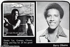 Barry Obama's yearbook page
