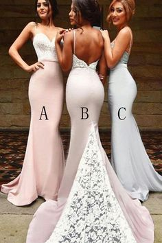 Spaghetti Straps Sheath Mermaid Long Elegant Lace Bridesmaid Dresses Z1374 Summer Bridesmaid Dresses, Lace Bridesmaid Dresses, Wedding Party Dresses, Prom Dresses, Formal Dresses, Sweet 16 Dresses, Cute Dresses, Boho Gown, Mermaid Dresses