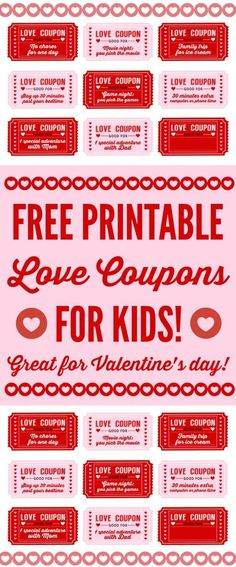 Free printable Love coupons for kids on Valentine's Day. This is a great way to show your kids how much you love them with free trips to the ice cream store and stay up late coupons. So fun! See more Valentine's Day party ideas and free printables at http://CatchMyParty.com.