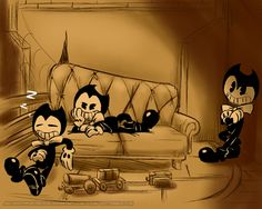 bendy and the ink machine Classic Cartoon Characters, Classic Cartoons, Cartoon Styles, Bendy Y Boris, Background Decoration, Demon Art, Anime Version, Bendy And The Ink Machine, Letter B