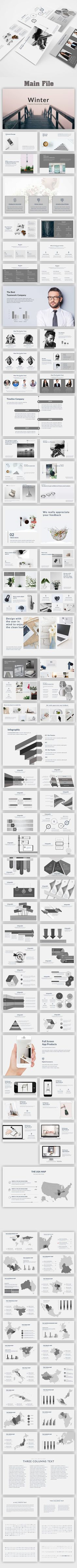 Winter Minimal PowerPoint Template - Creative PowerPoint Templates #powerpoint