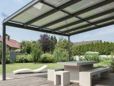 Pergola To House Attachment Pergola With Roof, Diy Canopy, Canopy Design, Outside Room, Garden Furniture, Patio Wall, Porch And Terrace
