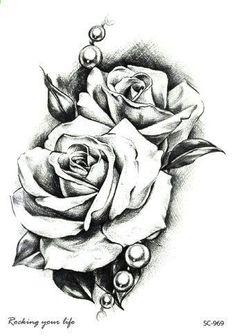 Rocooart New Sketch Rose Waterproof Fake Tattoo Taty For Women Men Temporary Tattoo Sticker Back Arms Flash Tatoo Henna Tatuaje. Tatoo Rose, Rose Drawing Tattoo, Rose Flower Tattoos, 1 Tattoo, Piercing Tattoo, Tattoo Drawings, Piercings, Arm Tattoos With Roses, Heart Rose Drawing