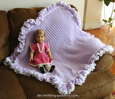 ABC Knitting Patterns - Baby Blanket with Ruffle