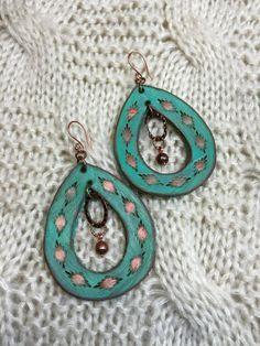 Leather earrings by ArteVae on Etsy