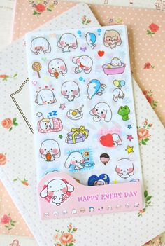 Happy Dog Stickers 6pc cute cartoon planner journal scrapbooking diary sticker
