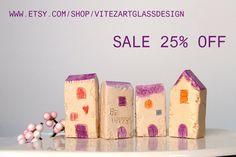 SALE  Small Cottage Houses Miniature Rustic by VitezArtGlassDesign