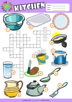 Kitchen Crossword Puzzle ESL Vocabulary Worksheet