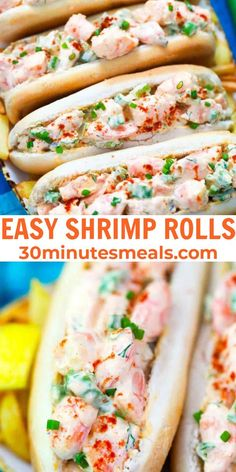 Shrimp Rolls are easy to make with shrimp, celery, lemon, green onions, pickle relish, mayonnaise, Greek yogurt, buns, and a few seasonings. #shrimp #rolls #30minutesmeals Best Lunch Recipes, Delicious Dinner Recipes, Easy Family Meals, Easy Meals, Family Recipes, Fish Recipes, Seafood Recipes, Fish Dinner, Tasty Dishes