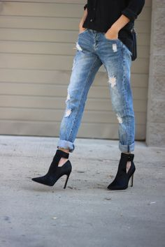 pointed toe cut out bootie and distressed jeans