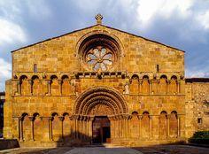 Romanesque church of Santo Domingo de Soria. View of the Western facade, built in the century, Spain Historical Architecture, Architecture Design, Romanesque, 12th Century, Christian Art, Castles, Facade, Taj Mahal, Environment