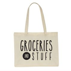 "SALE!! Groceries & Stuff! Adorable tote bag to be used for groceries and other stuff. Size:  12 x 16 x 6.  24"" shoulder strap. Canvas material. Photo courtesy of Salt Lake Clothing. Salt Lake Clothing Bags Totes"