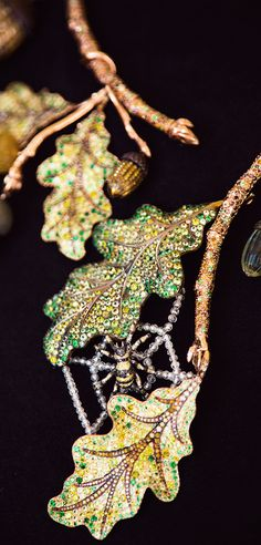 Chopard - A unique oak tree necklace hiding a gem-set spider from our Red Carpet Collection 2013