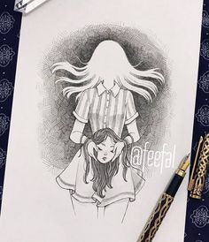 Day 19 of ‼️ spooky ghost girl with severed head. This is actually a redraw from an inktober I did in I wasn't really… Dark Art Drawings, Amazing Drawings, Art Drawings Sketches, Cute Drawings, Pencil Art Drawings, Arte Sketchbook, Creepy Art, Drawing Challenge, Horror Art