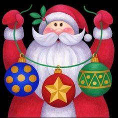 Santa Ornaments Three -- by Stephanie Stouffer, copyright 2015 Christmas Canvas, Noel Christmas, Christmas Paintings, Christmas Signs, Christmas Pictures, Winter Christmas, Christmas Crafts, Christmas Decorations, Christmas Bulbs