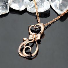 Trendy 18K Rose Gold Sterling Silver Cat Pendant Necklace