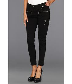 MICHAEL Michael Kors Skinny Cargo with exposed zipper detail.  I love a multi-personality cargo.  Dress these up or down.  A flexible look for the office, a day out and about or ramp up with stilettos!  $99.50 #GetYourStyleBack The Office, Stilettos, Zippers, Your Style, Personality, Black Jeans, Michael Kors, Skinny, Detail