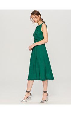 Rozkloszowana sukienka midi, Sukienki, kombinezony, zielony, RESERVED