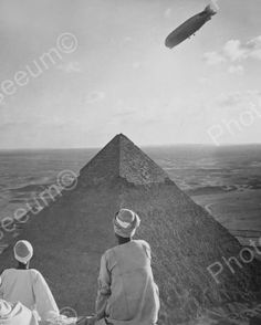 Airship Over Pyramind In Egypt 1900s 8x10 Reprint Of Old Photo