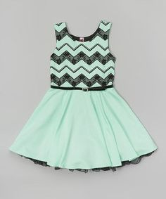Mint Chevron Lace Belted Dress - Girls   zulily