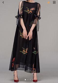 Floral-print Chiffon Maxi Dress cute outfits for girls 2017 Elegant Maxi Dress, Chiffon Maxi Dress, Maxi Dress With Sleeves, Dress Casual, Half Sleeves, Trendy Dresses, Fashion Dresses, Fashion Clothes, Look Fashion
