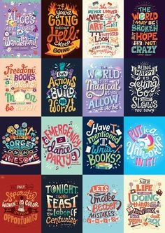 Complete Hand Lettering Collection on Behance Typography Quotes, Typography Letters, Graphic Design Typography, Lettering Design, Book Quotes, Life Quotes, Qoutes, Hamilton Wallpaper, Doodle Quotes