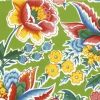 Primavera on lime green Mexican oilcloth pattern