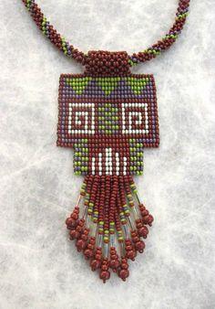 Sead Beaded Earthy Necklace Ethnic Design Art by HANWImedicineArt Bead Loom Patterns, Beaded Jewelry Patterns, Macrame Jewelry, Beading Patterns, Native American Earrings, Burlap Flowers, Woven Bracelets, Homemade Jewelry, Loom Beading
