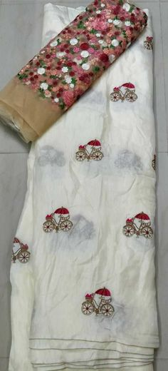 Jute georget cycle saree with designer blouse