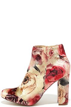 "The Rose Ceremony Beige Floral Velvet High Heel Booties vow to keep you chic forevermore! On-trend velvet has a fun beige, red, burgundy, and green floral print over an almond toe upper, and ankle-high shaft. 5"" zipper at the instep."